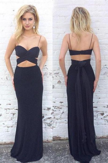 Simple two pieces dark blue long prom dress, formal dress