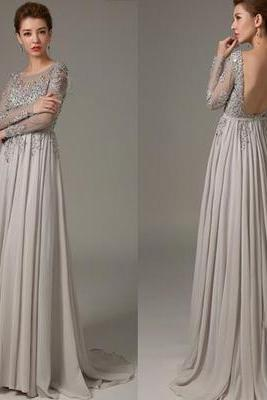 long prom dress, gray prom dress, party prom dress, long sleeve prom dress, cheap prom dress, prom dress 2015, evening dress