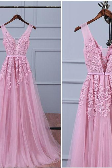 Lace Appliqued Tulle Long Prom Dresses,Sexy V Neck Prom Dresses, Woman's Evening Dresses, Elegant Formal Dresses for Weddings