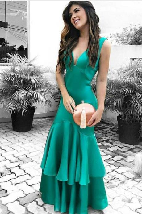 Emerald Green Prom Dress with Double Tiered Skirt wedding dresses