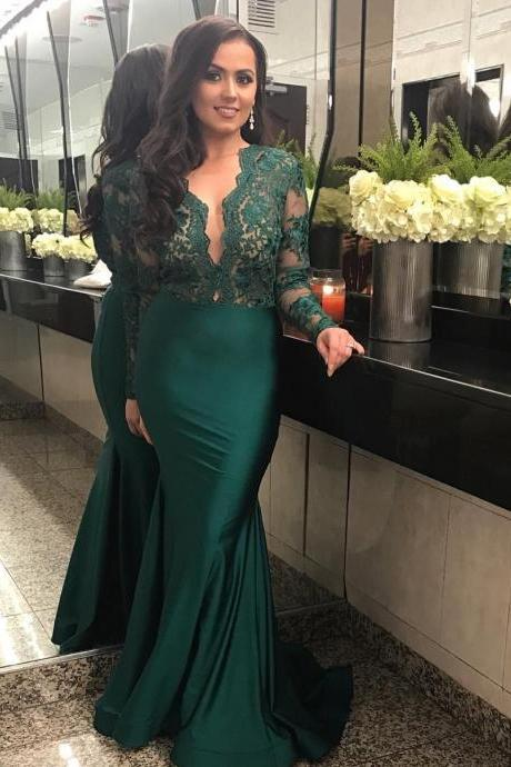 Sexy Mermaid Prom Dresses , Appliques Lace Prom Dress Long Sleeve Evening Party Dress