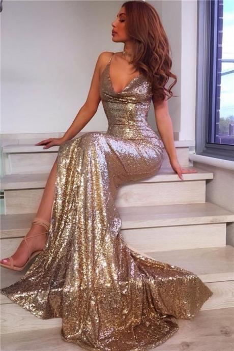 V Neck Mermaid Gowns,Long Sequins Prom Dress