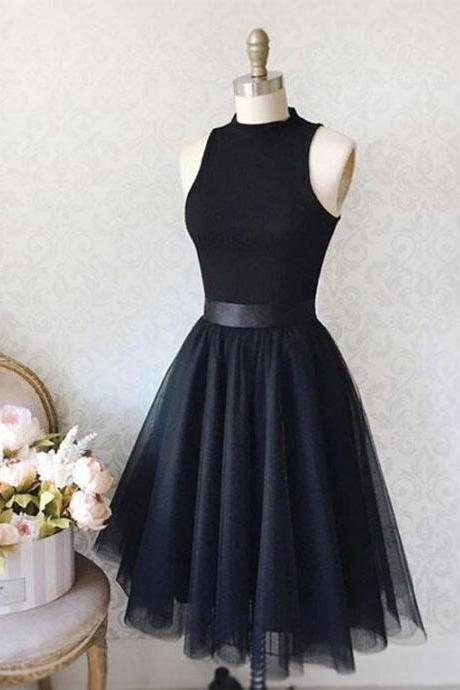VINTAGE A-LINE HIGH NECK SLEEVELESS KNEE-LENGTH BLACK HOMCOMING DRESS WITH TULLE