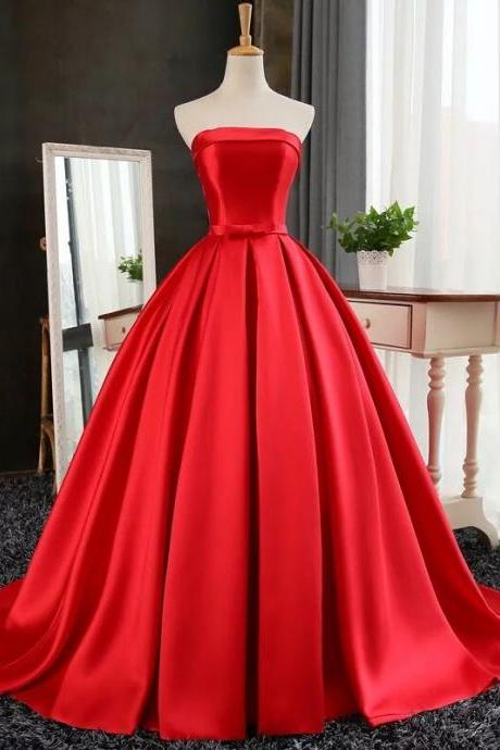 Custom Made Red Strapless Bandeau Neckline Satin A-Line Floor Length Prom Dress