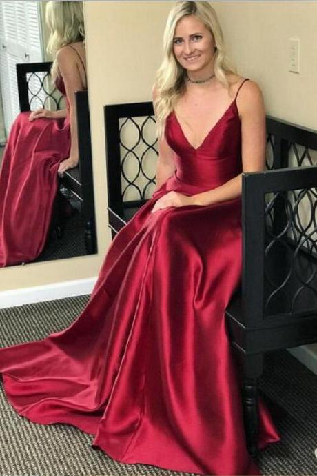 Custom Made Red V-Neckline Satin A-Line Floor Length Prom Dress