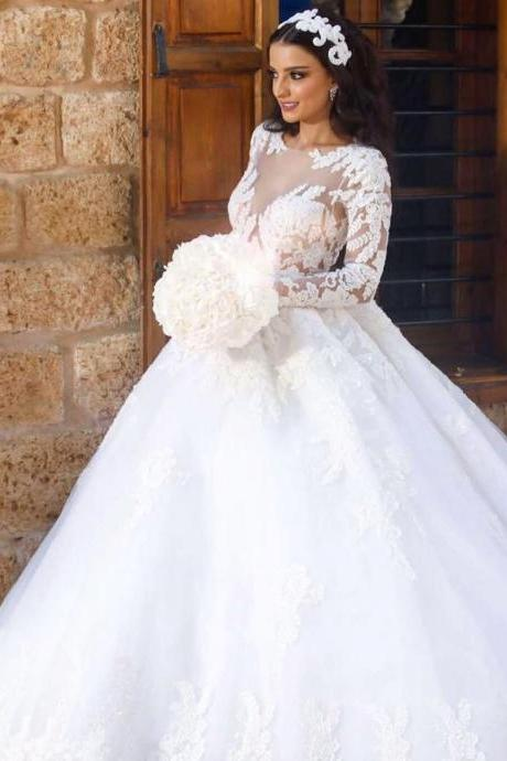 Long Sleeves Wedding Dress with Lace wedding dresses