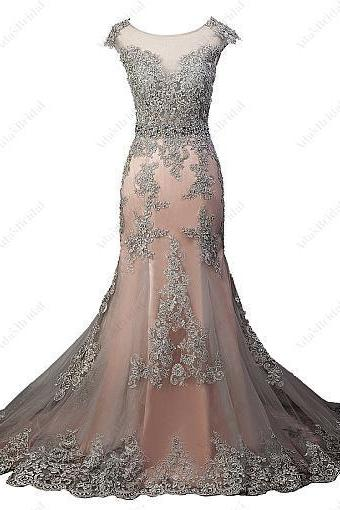 Tulle Scoop Neckline See-through Natural Waistline Mermaid Evening Dress With Beaded Lace Appliques
