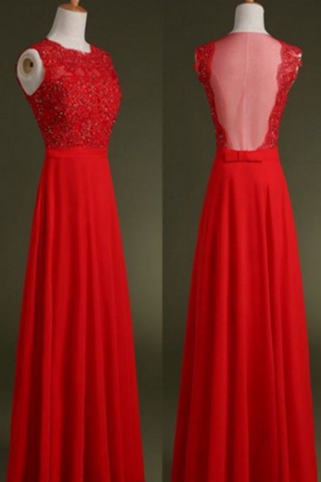 Red ,Lace Evening Dress,A line Prom Dress,Backless Prom Dresses,Lace Prom Gown,Sexy Prom Dress,Open Back Evening Gowns,Party Dress for Teens