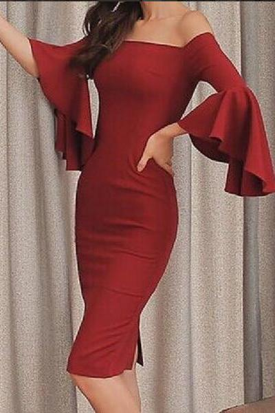 Custom Made Red Off Shoulder Knee Length Sheath Dress with Flared Bell Sleeves, Homecoming Dress, Graduation Dress