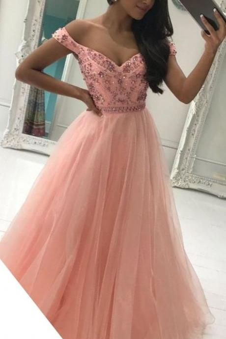 Custom Made Pink Beaded Off Shoulder A-Line Tulle Floor Length Bridesmaid Dress, Prom Dress