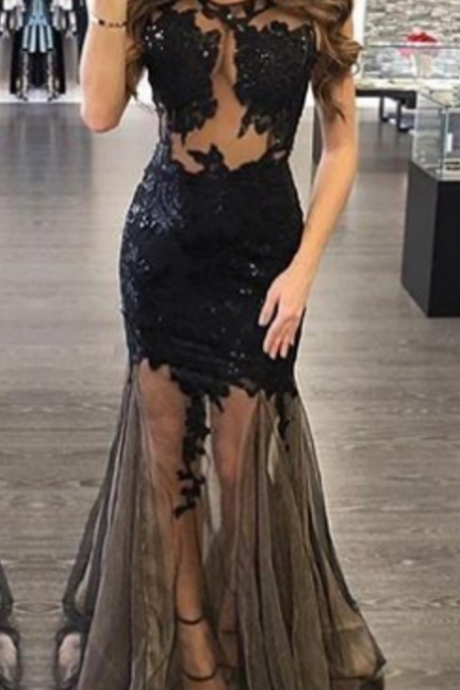 Unique black prom dress long prom dress,black evening dresses,