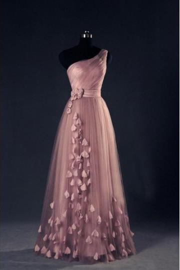 Custom Made Pink One Shoulder A-Line Tulle Floor Length Bridesmaid Dress, Prom Dress with Applique