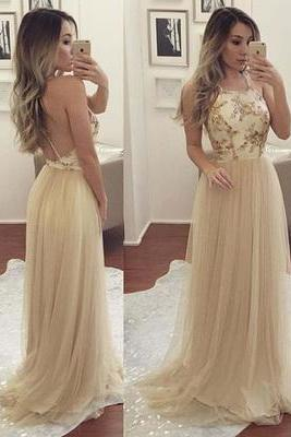 Champagne Spaghetti Appliques Tulle Prom Dresses, Long A-line Prom Dresses, Cheap Evening Dresses