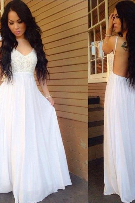 Sexy Backless Prom Dress,White Prom Dress,A line Prom Dress,Sexy Party Dress,Long Prom Evening Dress,Chiffon Evening Dress,Lace Spaghetti-Strap Prom Dress,2017 Prom Dress,
