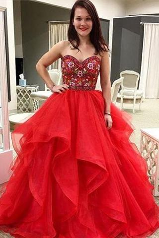 Red tulle sweetheart neck long prom dress, red evening dress2