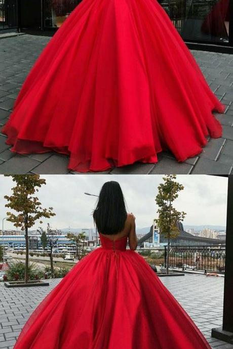 A-Line Sweetheart Sleeveless Floor-Length Red Organza Prom Dress