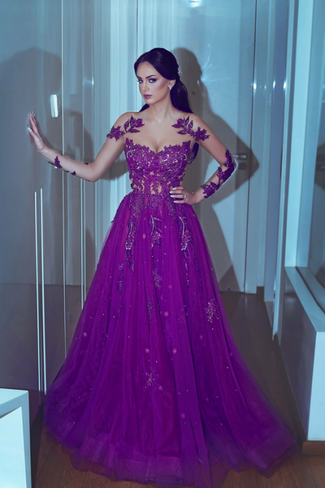 Purple Sheer Crew Long Sleeve Lace Appliques Sheer Prom Dresses, Lace Prom Dresses, A Line Prom Dresses, , Cheap Party Dresses, Tulle Special Occasion Dresses
