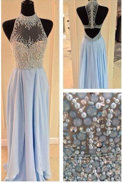 Luxurious Crystal Halter Prom Dresses Long Satin Leg Split Evening Gowns