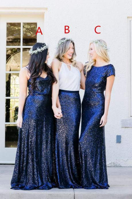 Special Blue Sequins Bridesmaid Dress,Pretty Bridesmaid Dress,Free Style Bridesmaid Dress
