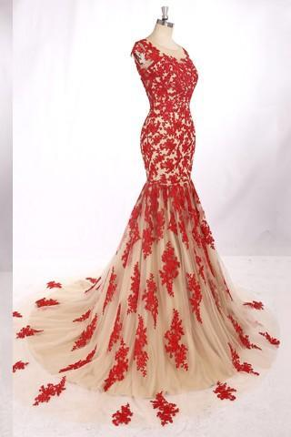 Long Sleeve Appliques Prom Dresses,Long Evening Dresses,Prom Dresses
