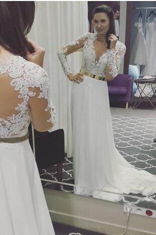 Long Sleeves Cheap Chiffon Boho Wedding Dresses Beach 2018 Lace Appliqued A Line Bridal Gowns,A Line Long Chiffon Lace Beach Wedding Dress,Long Sleeves Lace Bridal Dress