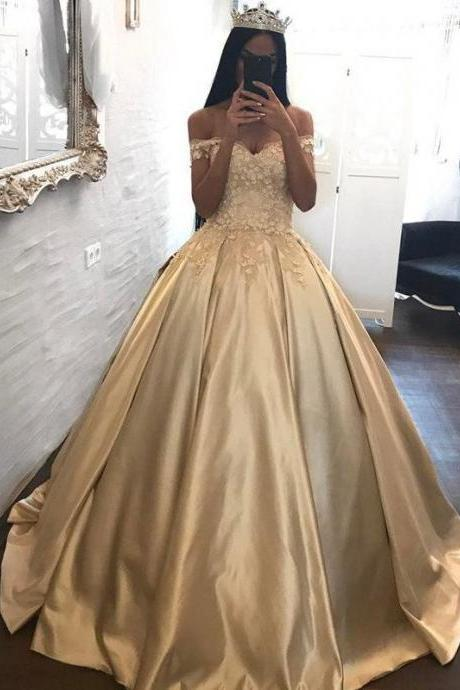 Ball Gown Prom Dresses Off-the-shoulder Appliques Satin Prom Dress Evening Dress JKL269