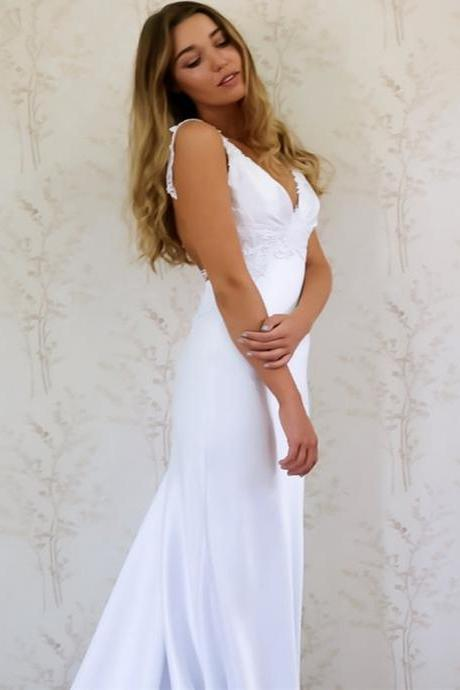 Elegant White Sweep Train Prom Dress,Sexy Backless Lace Evening Dress,Romantic Wedding Dress