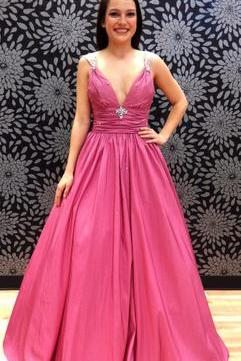Sexy Sleeveless Prom Dress, V Neck A Line Prom Dresses, Long Evening Dress