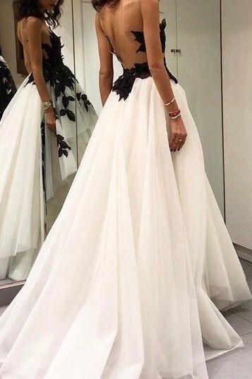 Charming Tulle Appliques Long Prom Dress, Sexy Sleeveless Prom Dresses,Backless Evening Dress