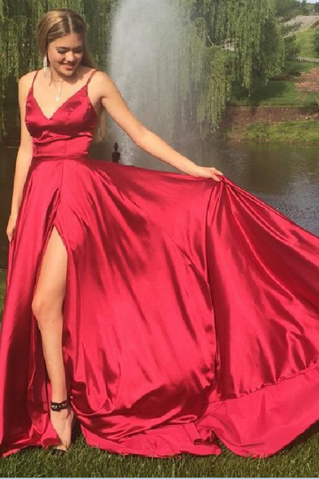 A-line long prom dress, red long prom dress wedding party dress, 2018 prom dress with side slit, party dress