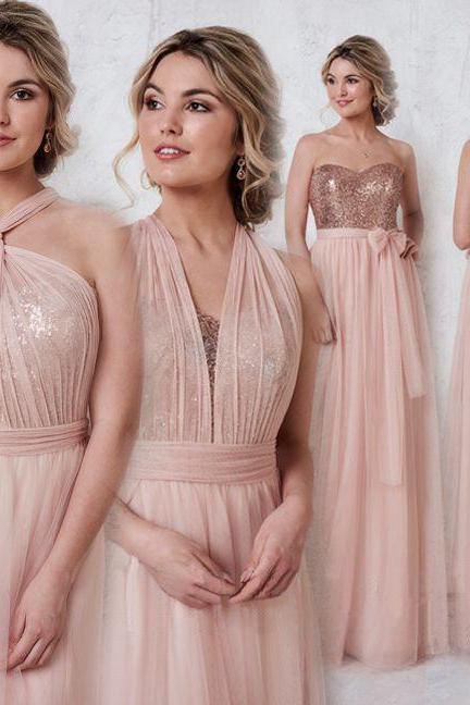 Rose Gold Sparkly Mismatched Sequin Long Bridesmaid Dresses, Cheap Unique Custom Long Bridesmaid Dresses, Affordable Bridesmaid Gowns