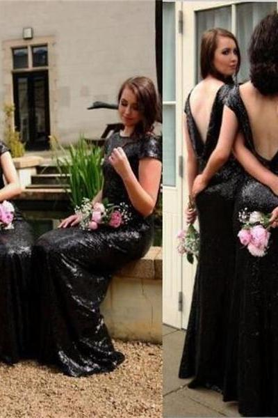 Black Sequin Sparkly Popular Custom Cheap Bridesmaid Dress,wedding guest dress