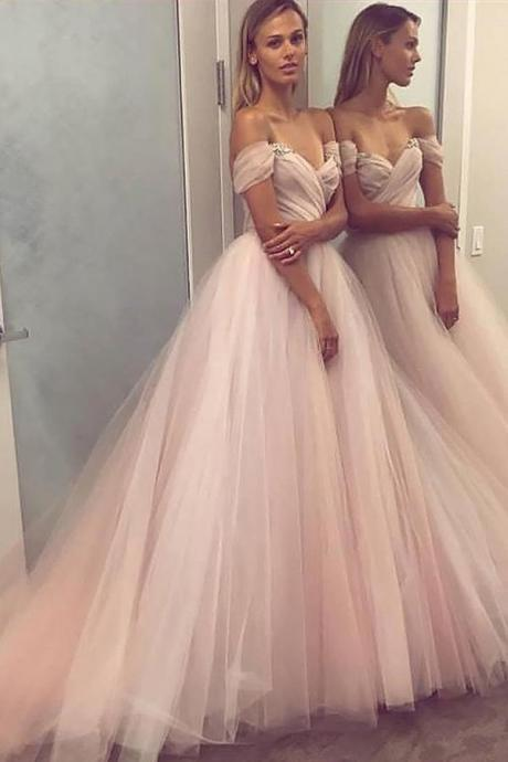 A-Line Princess Sleeveless Off Shoulder Tulle Beaded Long Prom Dresses