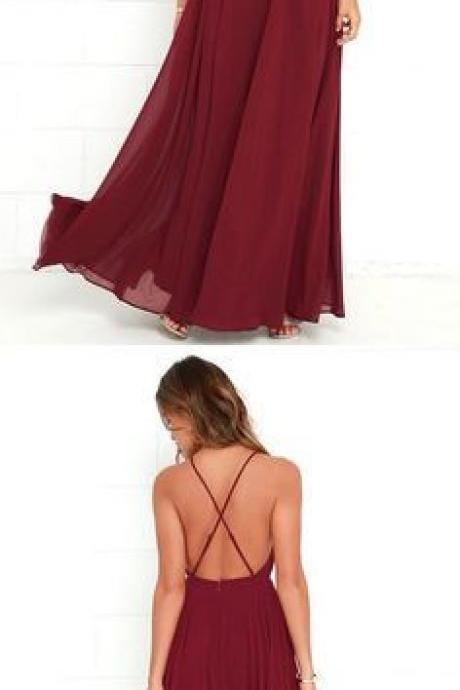 burgundy long prom dress, halter chiffon A-Line prom dress Sexy Simple Floor Length Prom Dress