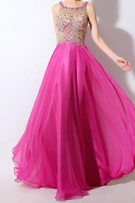 Chiffon Scoop Neckline See-through A-Line Prom Dresses