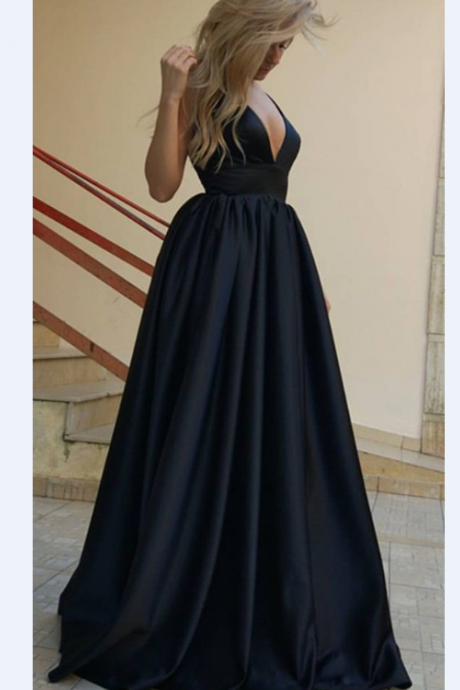 Sexy Plunge V-neck Long Satin Prom Dresses Backless Evening Gowns