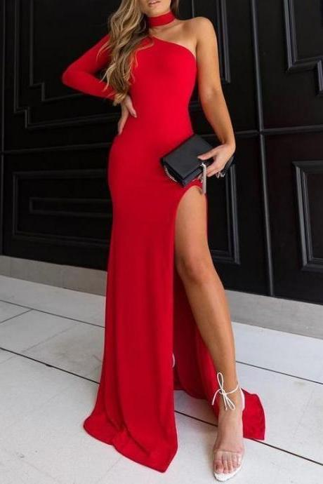 Charming Sheath Halter High Split Black /Red Elastic Satin Long Prom Dresses, Sexy Evening Party Dresses