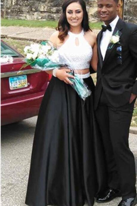 White Top Black Beading Long Prom Dresses,Evening Dresses,Handmade Beading A-line Prom Dress,Mdest Prom Gowns