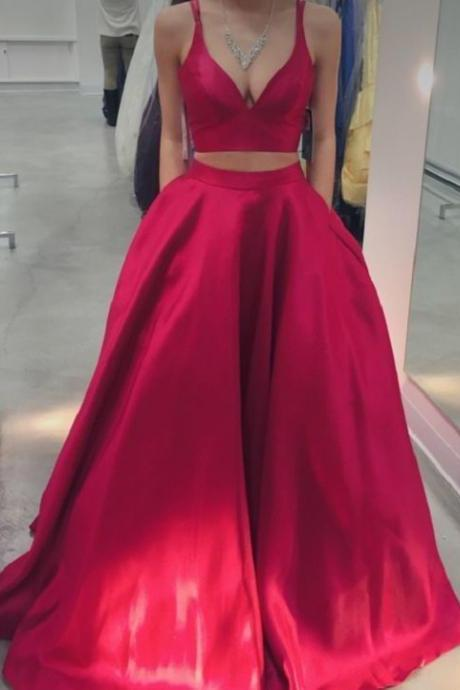 Elegant Two Piece Prom Dresses, Long Red Prom Dress, Formal Evening Dress, Simple Prom Dress, Ball Gown, Graduation Dresses