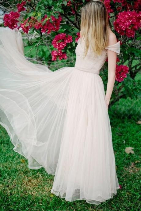 Sexy Evening Dresses Blush Sweetheart Neck Cap Sleeve Tulle Long Wedding Dress Prom Gowns