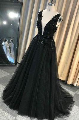 Custom Made Black Tulle Long V Neck Lace Applique Senior Prom Dress