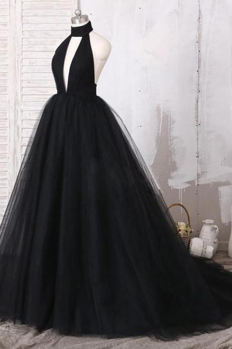 Black long,prom dresses ball gown halter