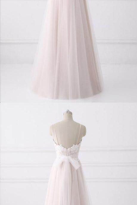 Fairy Prom Dresses with Straps Lace Long Blush Pink Beautiful Prom Dress