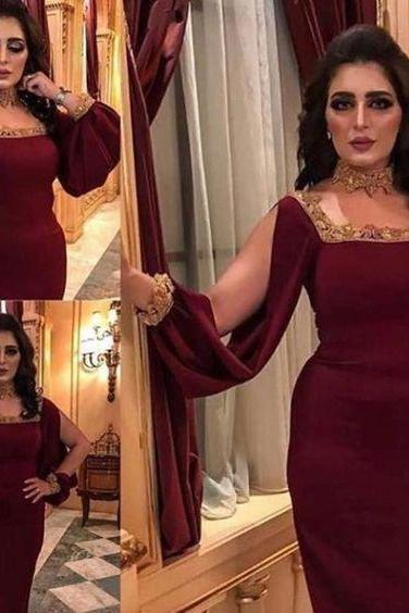 Wine red prom dresses sheath long sleeve lace appliques sequins beading square neckline evening dresses gowns