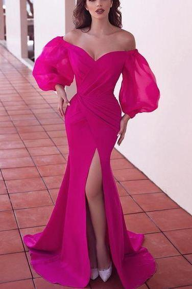 Fuchsia prom dresses long sleeve front slit pleats mermaid floor length evening dresses
