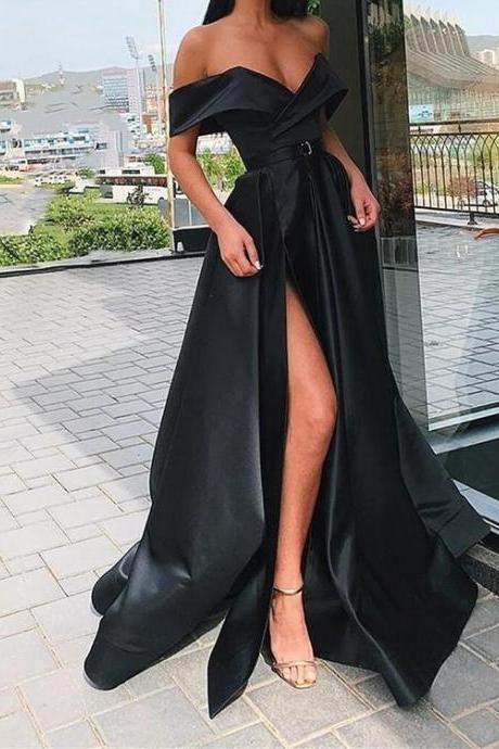 Off Shoulder Black Prom Dresses Long A Line Formal