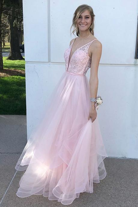 Deep V Neck Pink Floor Length Prom Formal Dress