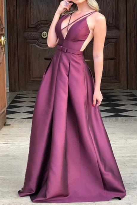 Straps V Neck Satin Long Prom Dress Formal Evening Gown