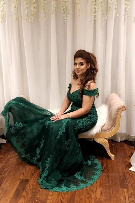 Formal Evening Gowns Lace Appliques Mermaid Long Prom Dresses Tulle Emerald Green Evening Dresses
