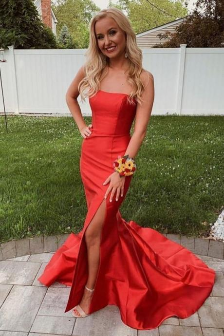 Mermaid Red Strapless Long Prom Dress with Slit